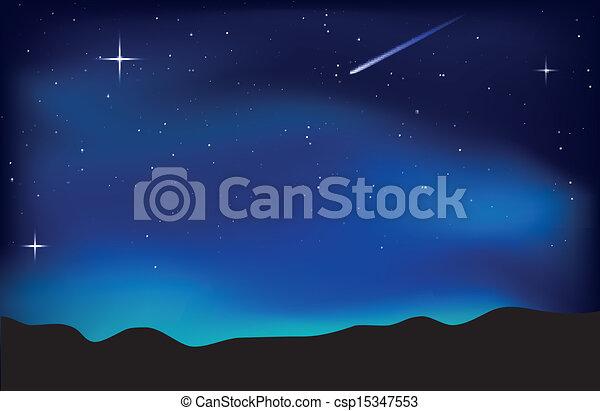 Night sky landscape - csp15347553