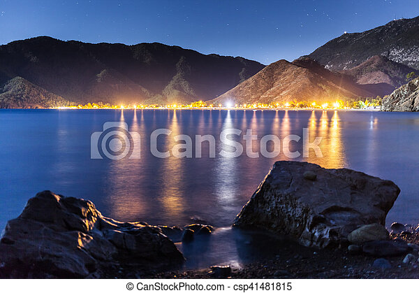 night sky under Adrasan bay. village location, District of Kemer, Antalya Province, Turkey. - csp41481815