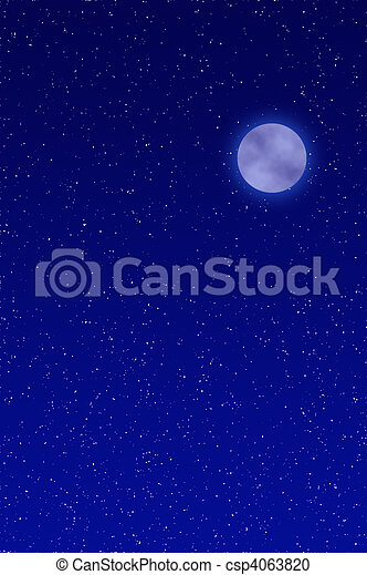 Night sky with full moon and stars - csp4063820