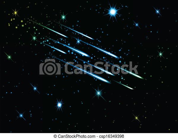 Night sky with shooting stars - csp16349398