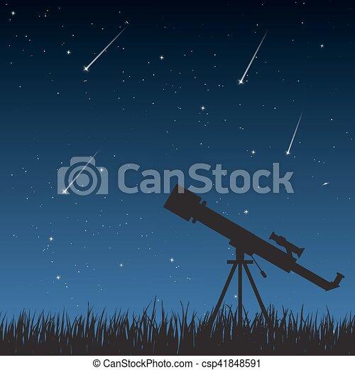 Night Sky with Telescope - csp41848591