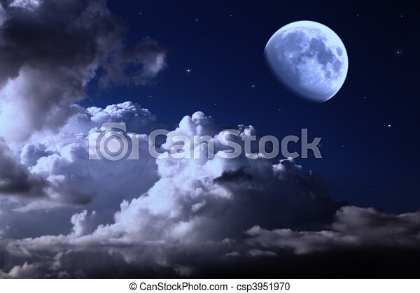 night sky with the moon, clouds and stars - csp3951970
