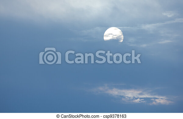 night sky with the moon, clouds - csp9378163
