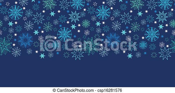 Night snowflakes seamless pattern background horizontal border - csp16281576
