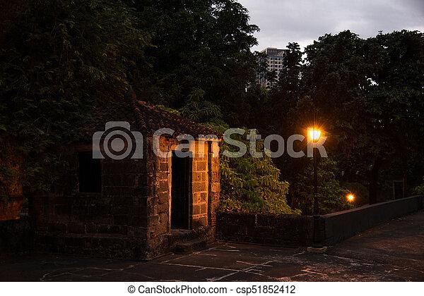 Night street in a residential area Manila - csp51852412