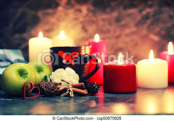 night table with mug and candle - csp50870828