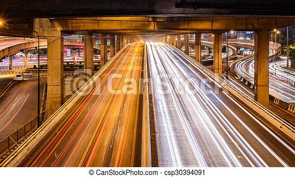 El tráfico de Bangkok por la noche. - csp30394091
