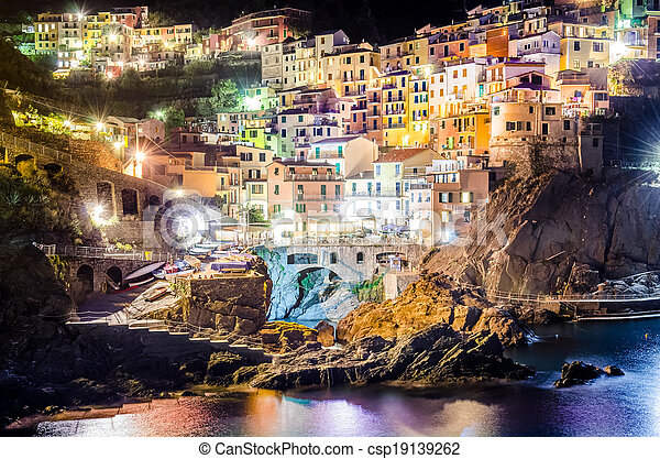 Night view of colorful village Manarola in Cinque Terre - csp19139262