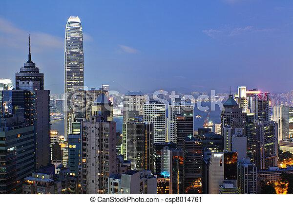 night view of Hong Kong - csp8014761
