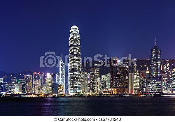 night view of Hong Kong - csp7784248