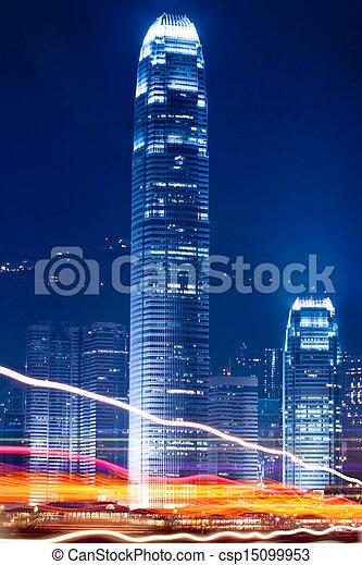 night view of hong kong  - csp15099953