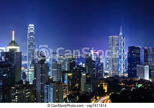 night view of Hong Kong - csp7417414