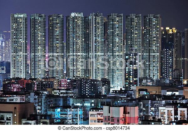 night view of Hong Kong - csp8014734