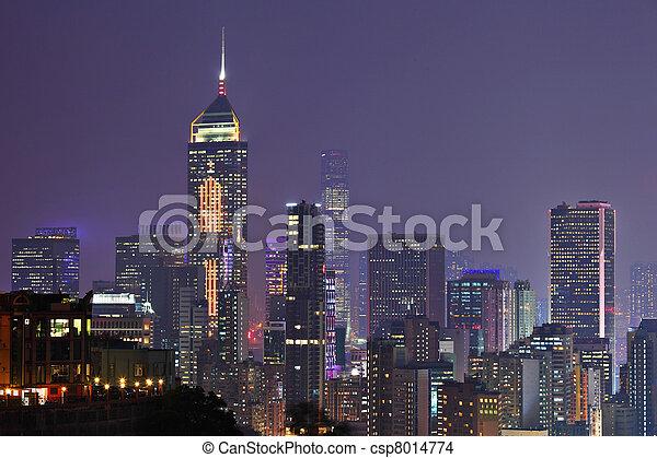 night view of Hong Kong - csp8014774