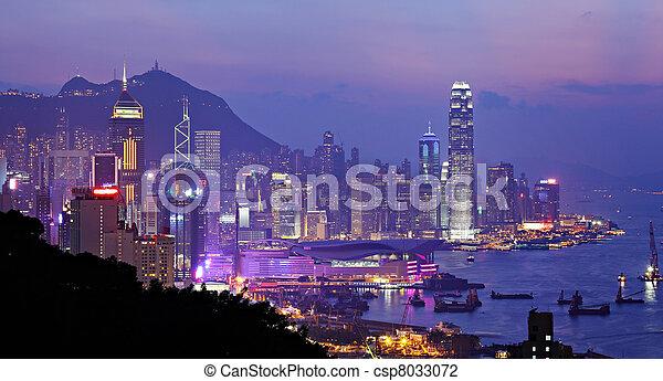 night view of Hong Kong - csp8033072