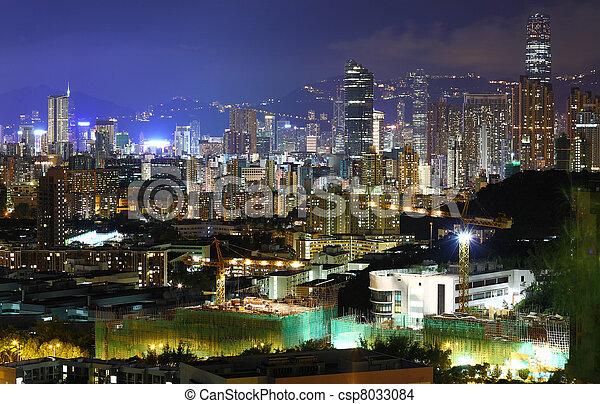 night view of Hong Kong - csp8033084