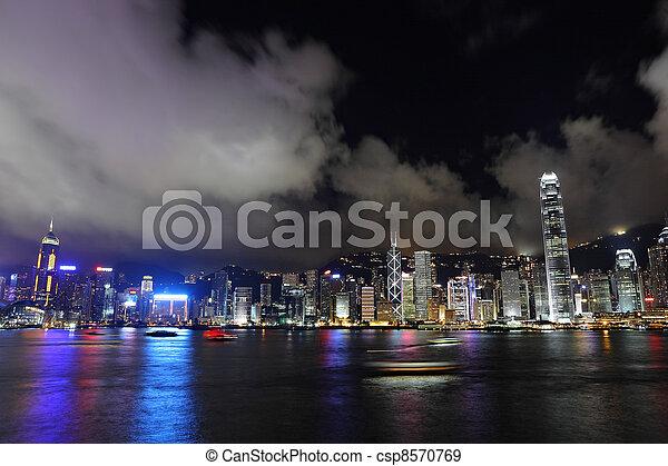 night view of Hong Kong - csp8570769