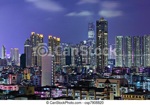 night view of Hong Kong - csp7908820