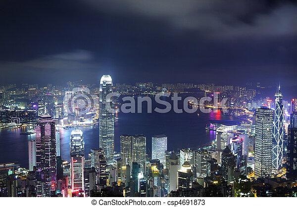 night view of Hong Kong - csp4691873