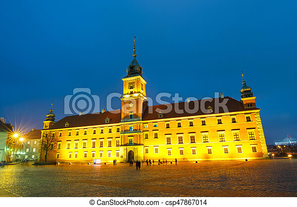 Night view of old town in Warsaw, Poland - csp47867014