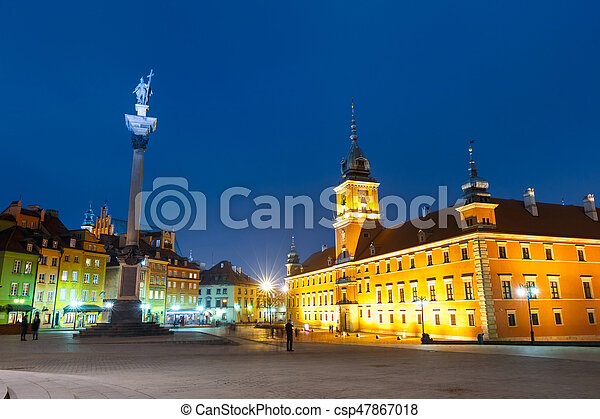 Night view of old town in Warsaw, Poland - csp47867018