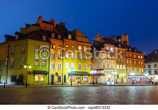Night view of old town in Warsaw, Poland - csp48313332