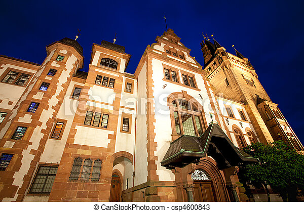 night view of the castle in weinheim - csp4600843