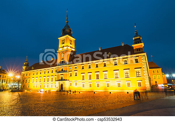 Night view of the old town in Warsaw, Poland - csp53532943