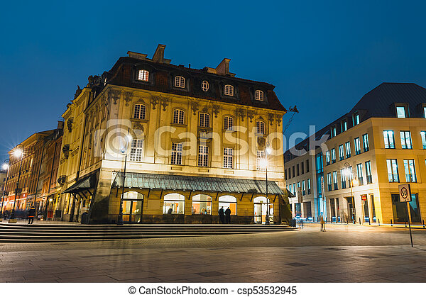 Night view of the old town in Warsaw, Poland - csp53532945