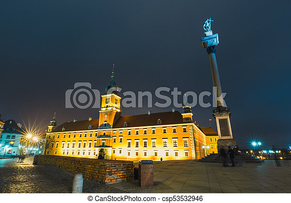 Night view of the old town in Warsaw, Poland - csp53532946
