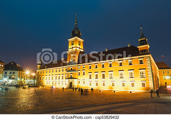 Night view of the old town in Warsaw, Poland - csp53829432