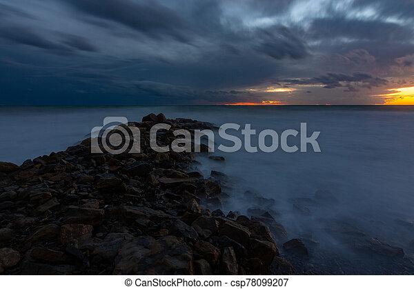 Night view of the rocky shore of the Black Sea, Anapa, Russia - csp78099207