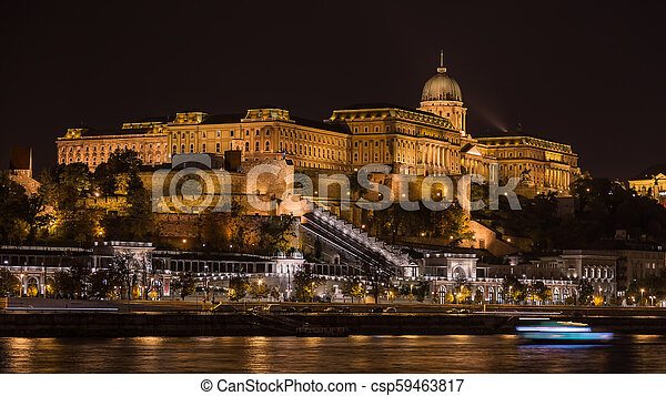Night view of the Royal Castle, Budapest - csp59463817
