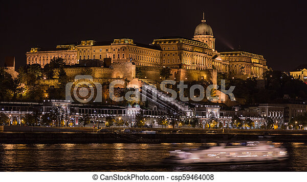Night view of the Royal Castle, Budapest - csp59464008