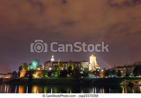 Night view of Wawel Castle in Cracow, Poland. - csp23370359