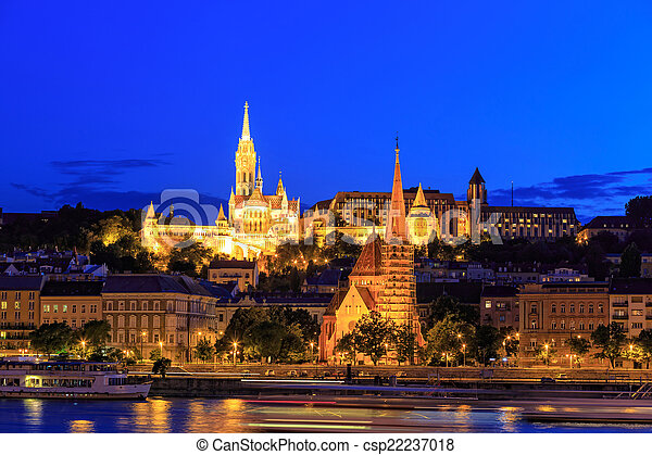 Night View with Matthias Church in Budapest, Hungary - csp22237018