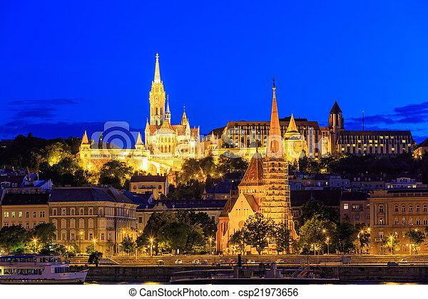 Night View with Matthias Church in Budapest, Hungary - csp21973656