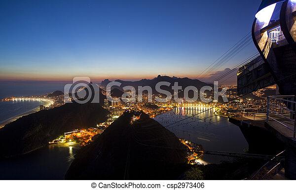 Night views of Rio De Janeiro Brazil from Sugar Loaf Mountain - csp2973406