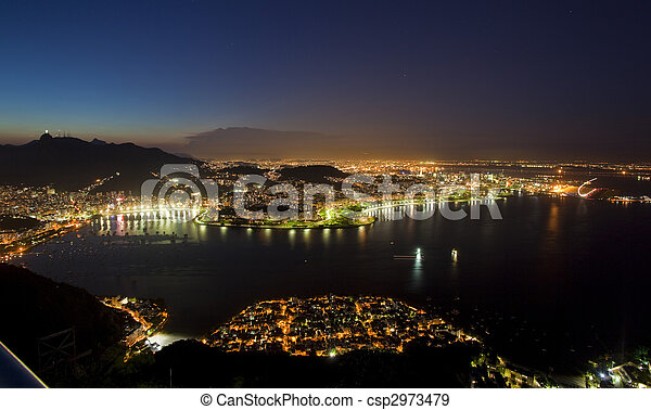 Night views of Rio De Janeiro Brazil from Sugar Loaf Mountain - csp2973479
