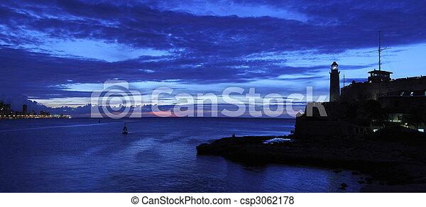 Nightfall on havana panorama - csp3062178