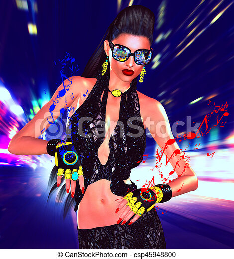 Nightlife girl posing on city street with motion blur and music speaker gloves - csp45948800