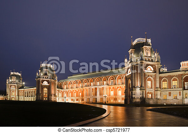 Nightlighting castle of State historical and architectural museum reserve Tsaritsyno, Russia. It was build in 1776. - csp5721977
