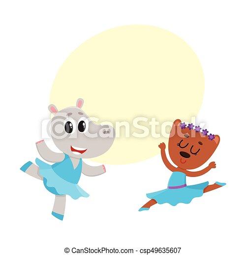 nijlpaard, ballet dansen, katje, samen, karakters, beer, puppy - csp49635607