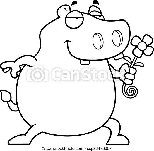 nijlpaard, bloem - csp23478087