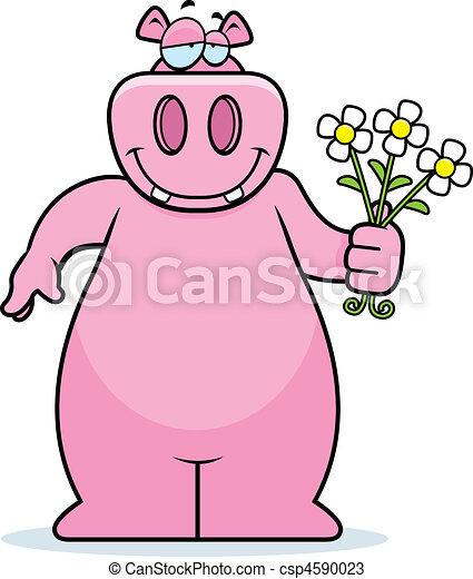 nijlpaard, bloemen - csp4590023