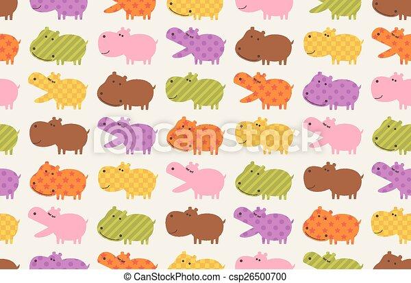 nijlpaard, dier, seamless, spotprent - csp26500700