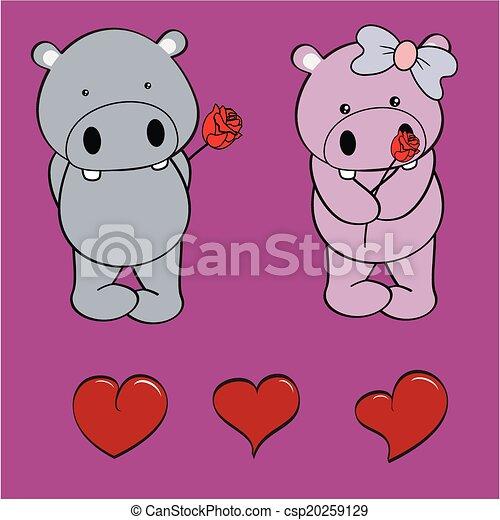 nijlpaard, set, liefde, roos, baby, spotprent - csp20259129