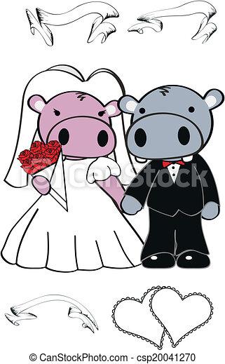 nijlpaard, set, schattig, spotprent, trouwfeest - csp20041270