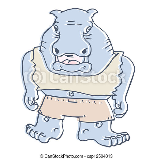 nijlpaard, spotprent - csp12504013