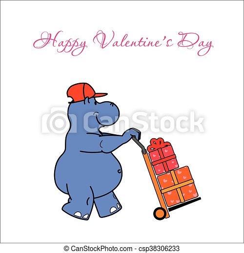 nijlpaard, vector, illustratie - csp38306233